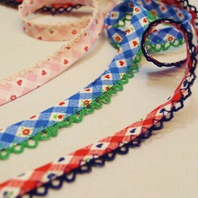 £2.15 • Buy 14mm Gingham Bias Binding Lace Edge Hearts & Flowers Cotton