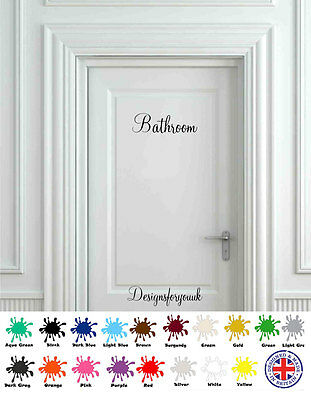 Bathroom Door - Wall Art Decal - Vinyl Sign / Sticker Toilet WC Pub Sign • 3.75£