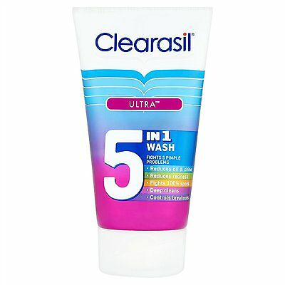 Clearasil Ultra 5-in-1 Face Wash (150ml) FREE UK DELIVERY • 7.90£