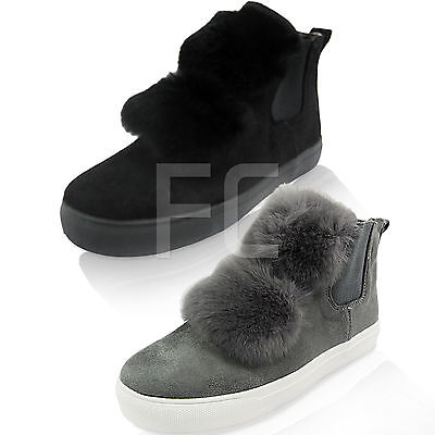 New Womens Pom Fur Slip On Gusset Pumps Sneakers Skaters Trainers Size Hi Top  • 7.46£