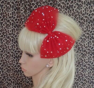 £3.99 • Buy BIG RED SPARKLE BOW TULLE TUTU NET ALICE HAIR HEAD BAND 80s PARTY FANCY DRESS