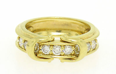 $1796 • Buy Designer Jose Hess 18k Solid Gold Double Buckle Pave 0.75ctw Diamond Band Ring