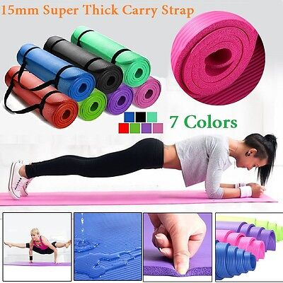 AU29.99 • Buy 15MM Thick Yoga Mat Non-slip Exercise Fitness Gymnastic Mat Lose Weight Pad