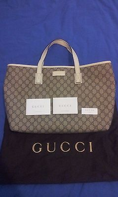 AU850 • Buy Authentic Gucci GG Supreme Canvas White Leather Tote Shoulder Bag (211137)