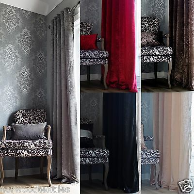 £40 • Buy Crushed Velvet Curtains - Fully Lined With Eyelet Heading - Red - Black - Silver