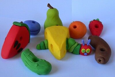 Edible 3D HUNGRY CATERPILLAR Cake Topper SET FRUIT Cheese SAUSAGE Strawberry  • 35£