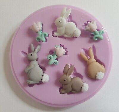 Easter Bunnies Silicone Mould For Cake Toppers, Chocolate, Clay Etc • 6.50£