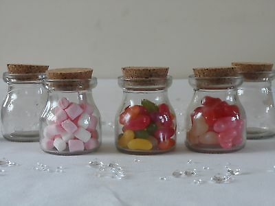 Small Clear Glass Cork Lid Bottles Jars Party Sweets Wedding Table Favours 6x7 • 18.95£