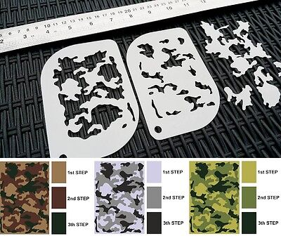 £4.95 • Buy #XS CAMOUFLAGE Camo Pattern Airbrush Stencil Body Face Painting Army Tank Mylar