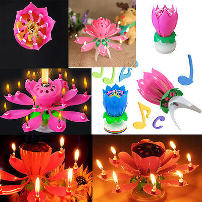 $ CDN5.54 • Buy Amazing Musical Lotus Flower Birthday Cake Topper Candles Lights Party Gifts
