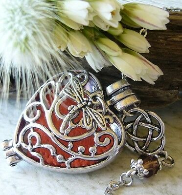AU12.95 • Buy Outlander Celtic Knot Dragonfly Amber Inspired Oil Diffuser Necklace Locket Cage