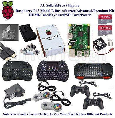 AU120.99 • Buy AU Raspberry Pi 3 Model B Basic/Starter/Advanced/Premium Kit HDMI/Case/Keyboard