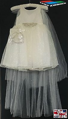 Girls Ivory Trail Dress Christening Bridesmaid Pagent Wedding Xmas Flowergirl • 19.99£