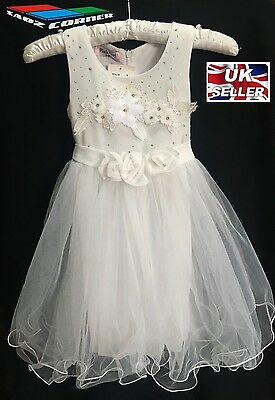Girls White Dress Party Christening Bridesmaid Pagent Wedding Xmas Flowergirl • 9.99£
