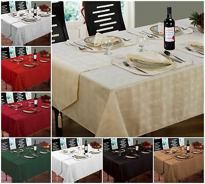 Jacquard Table Cloth Tableware Geometric Red Silver Cream Napkins Place Mat  • 6.95£