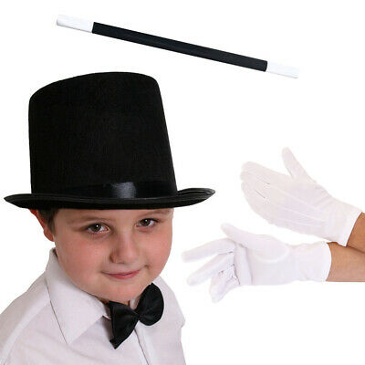 Kids Magician Fancy Dress Costume Set Stovepipe Top Hat Magic Wand White Gloves • 4.99£