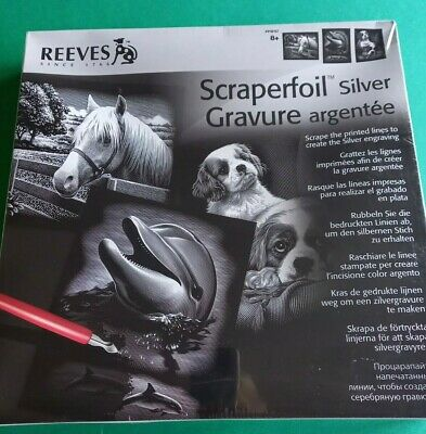 Reeves Scraperfoil Silver Set 4 Horse, Dogs, Dolphin • 9.99£