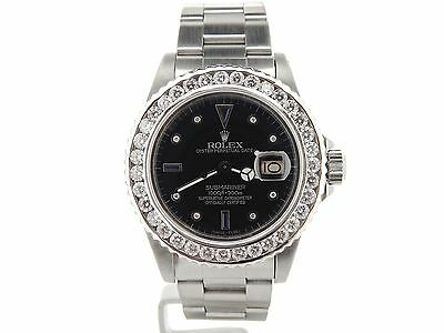 $ CDN15367.42 • Buy Rolex Submariner Date Stainless Steel Watch Black Serti Dial 3 CT Diamond Bezel