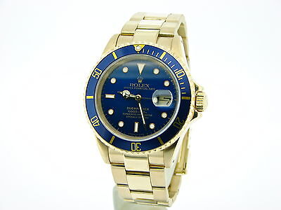$ CDN29334.75 • Buy Rolex Submariner SOLID 18KT 18K Yellow Gold Watch Blue Date Sub Oyster 16618
