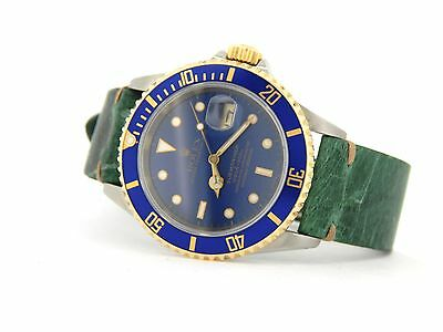 $ CDN10962.11 • Buy Mens Rolex Submariner 18k Yellow Gold Stainless Steel Watch Blue Sub Green 16613