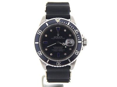 $ CDN10802.62 • Buy Rolex Submariner Stainless Steel Watch Diamond & Blue Sapphire Black Sub 16610