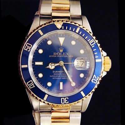 $ CDN12275.32 • Buy Mens Rolex Submariner Date 18k Yellow Gold & Steel Watch Blue Dial Bezel 16613