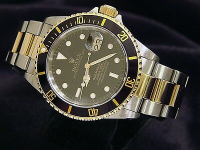 $ CDN12401.87 • Buy Rolex Submariner Mens 18k Yellow Gold Stainless Steel Watch Black Sub Date 16613