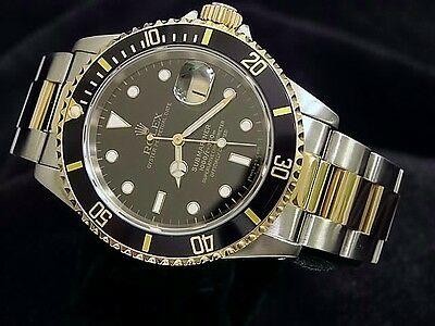 $ CDN13158.58 • Buy Rolex Mens Submariner Date 18k Yellow Gold Stainless Steel Watch Black Sub 16613