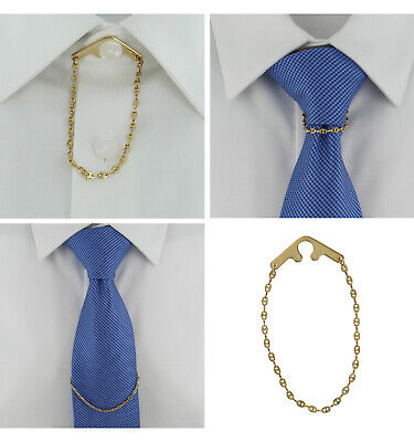 $14.95 • Buy Tie Chain Fancy Link Yellow Gold Button Hole Attachment Foster USA 7.5