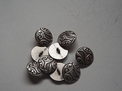 8pc 15mm Pewter French Inspired Floral Metal Cardigan Shirt Sewing Buttons 0219 • 3.28£