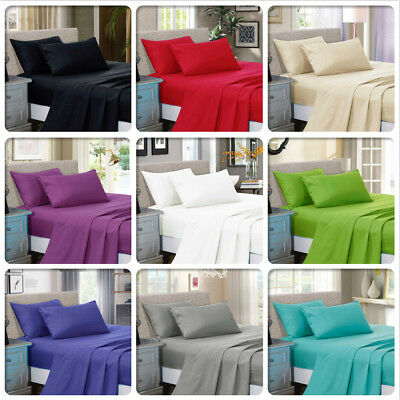 AU49.99 • Buy 1000TC Soft Luxury Flat &Fitted Sheet Set Queen/King/Super King Size Bed New