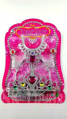 Childrens Tiara & Jewelry Set Plastic Tiara 5 Pc Plastic Dress Up Jewelry • 2.99£