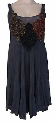 AU50 • Buy Save The Queen Grey Sleeveless Embroidered Empire Waist Pleated Dress Size M
