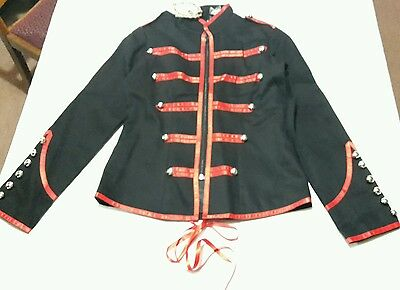 £22 • Buy Banned Apparel Black And Red Gothic Military Style Coat Jacket XS Size 8