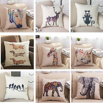 UK Vintage Linen Cotton Cushion Cover Throw Pillow Case Sofa Home Decor Gift • 4.49£