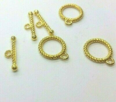 £1.99 • Buy BUY 3 GET 3 FREE 10 Sets Plated Metal Gold Twisted Alloy Toggle Clasps - A6516