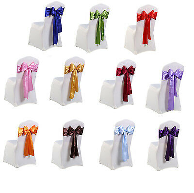£1.99 • Buy 1 25 50 100 Satin Sashes Chair Cover Bow Sash WIDER FULLER BOWS Wedding Party