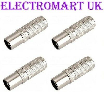 £2.95 • Buy 4 X Easy Fit Screw On Tv Aerial Coax Coaxial Plug Male