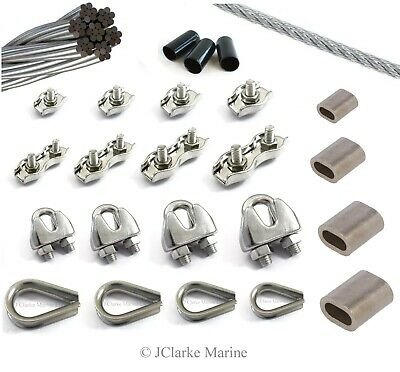 2mm 3mm 4mm 5mm Wire Rope Clamp Thimble Simplex Duplex 316 A4 Stainless Steel  • 2.99£