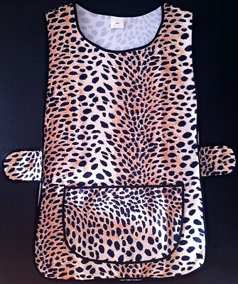 New Ladies Leopard Print Side Button Overall Tabard Cleaning Front Pocket Apron • 5.75£