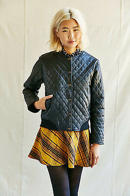 AU161.27 • Buy Urban Outfitters Pele Che Coco Kelly Quilted Leather Jacket Size Small NWT $298