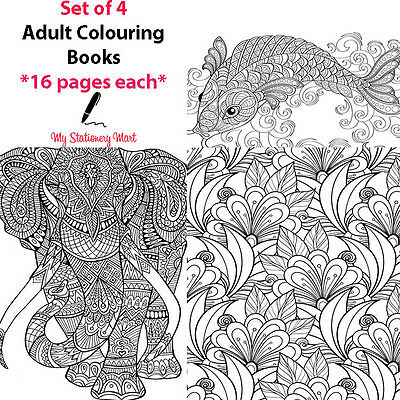 4 Set Adult Colouring Book Therapy Book Garden Animal Ocean Theme Generic Books • 3.29£