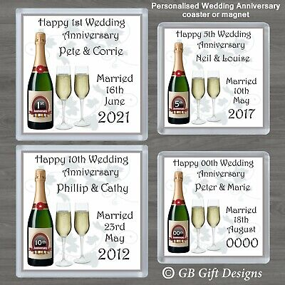 PERSONALISED 1st 5th  ANY YEAR  WEDDING ANNIVERSARY COASTER Or MAGNET GIFT  • 3.25£