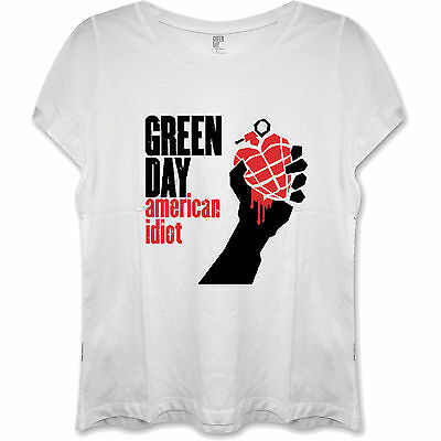 £9.95 • Buy Green Day OFFICIAL T-Shirt American Idiot Heart Grenade Trump Ladies White C4