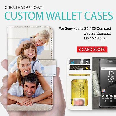 AU19.99 • Buy Xperia XA Z5 Z3 Z5 Compact Case Personalised Wallet Leather Print Cover For Sony