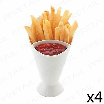 SET OF 4 SNACK CONE STANDS + DIP HOLDER French Fries/Chip/Bites/Finger Food/Bowl • 10.17£