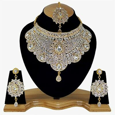 $32.99 • Buy Indian Bollywood Style Fashion Gold Plated Bridal Jewelry Necklace Set Style 14