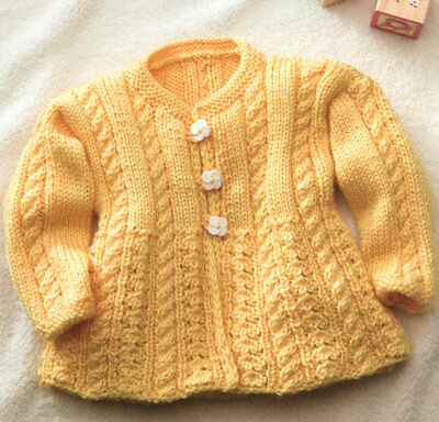 £1.99 • Buy Baby Aran Cable & Lace Round Neck Cardigan 6 - 24 Mths -  Knitting Pattern