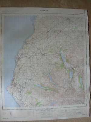 KESWICK LARGE OS WALL MAP 1in LINEN BACKED 1965 • 12.99£