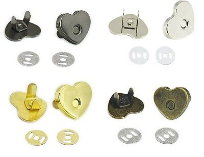 14 - 18 Mm Heart Shape Magnetic Snaps Purse Clasp Closures Metal Bag Craft Sew • 1.99£